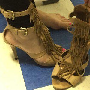 Leather Peep-Toe Boho Heels
